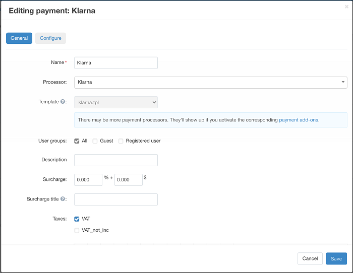 Klarna Payment for CS-Cart General settings