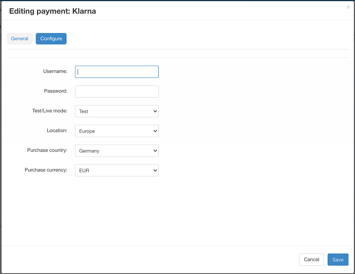 Klarna Payment add-on for CS-Cart General Configuration