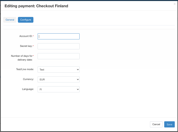 Editing payment: Checkout Finland