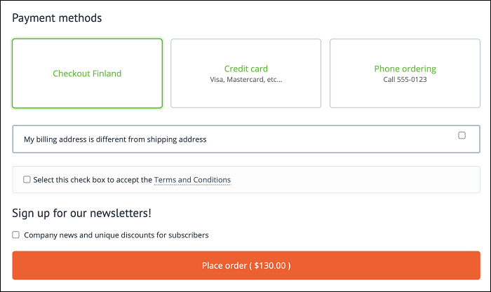 CS-Cart checkout page with Checkout Finland payment
