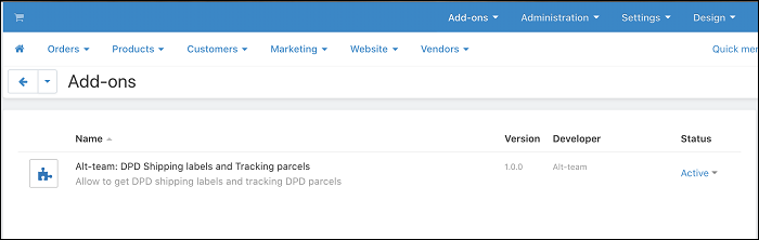 CS-Cart add-on DPD shipping stickers