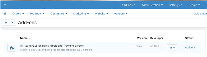 CS-Cart add-on GLS shipping labels