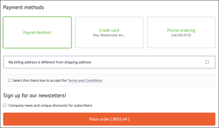 CS-Cart checkout page Paynet Redirect payment