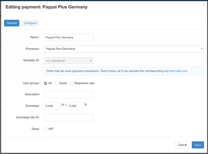Editing payment PayPal Plus Germany in CS-Cart settings
