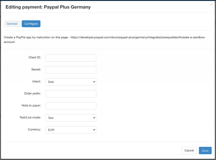 Editing payment PayPal Plus Germany for CS-Cart