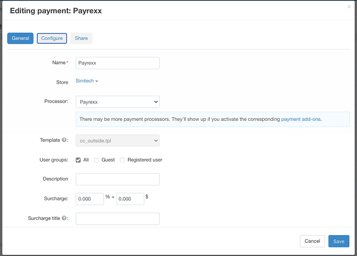 Editing Payrexx payment in the CS-Cart backend