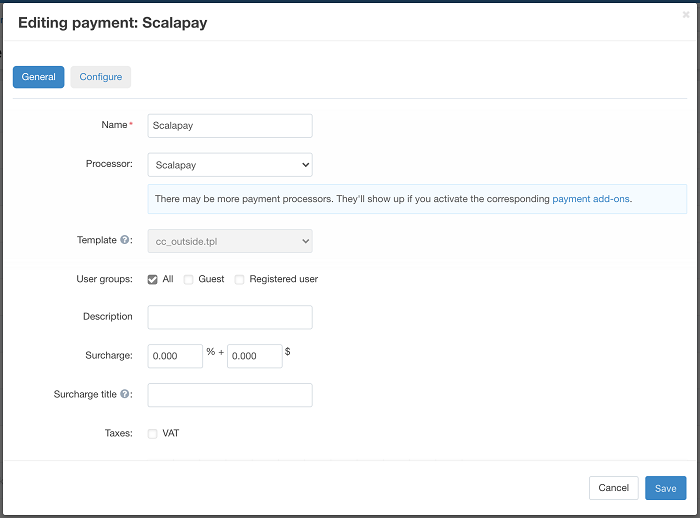 Editing payment method ScalaPay in CS-Cart backend