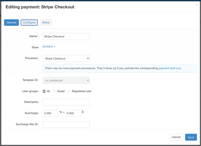 Editing payment tab in Stripe Checkout add-on