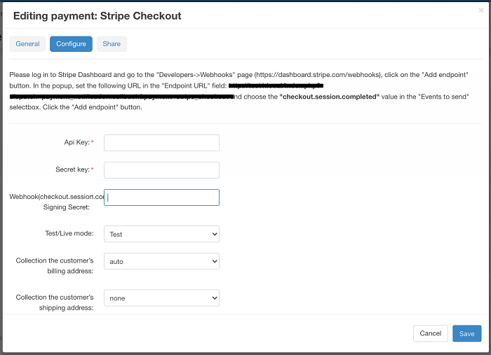 The configuration of the Stripe Checkout add-on