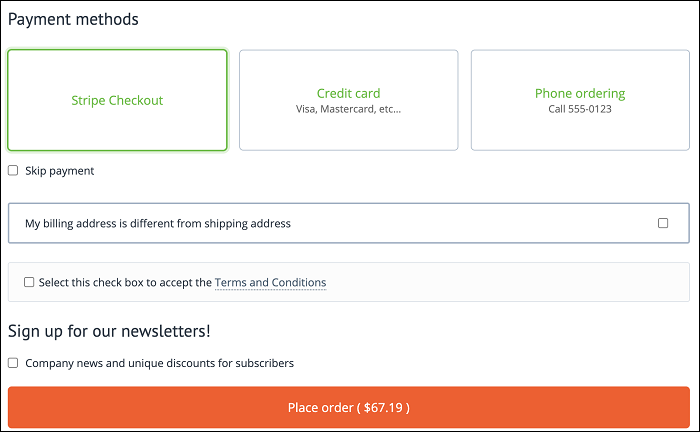 CS-Cart checkout page with Stripe payment