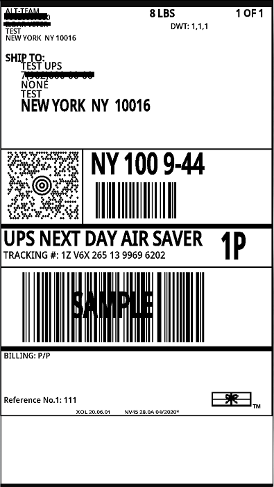 UPS shipping label example