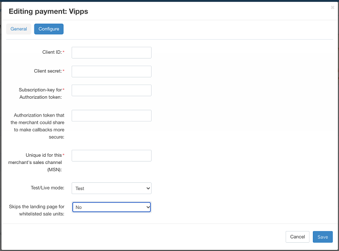 Editing Vipps payment