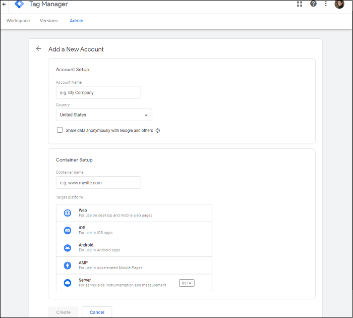 How to create new account in Tag Manager