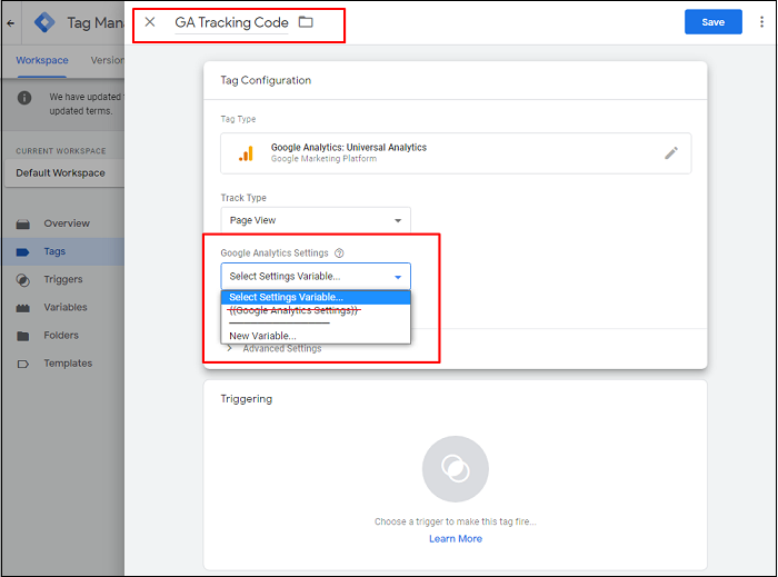 Google Analytics settings in Tag Manager