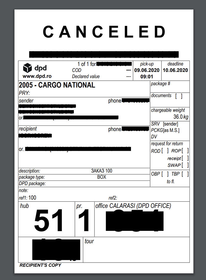 DPD shipping label example