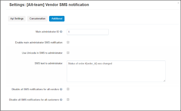 send sms to vendors cs-cart