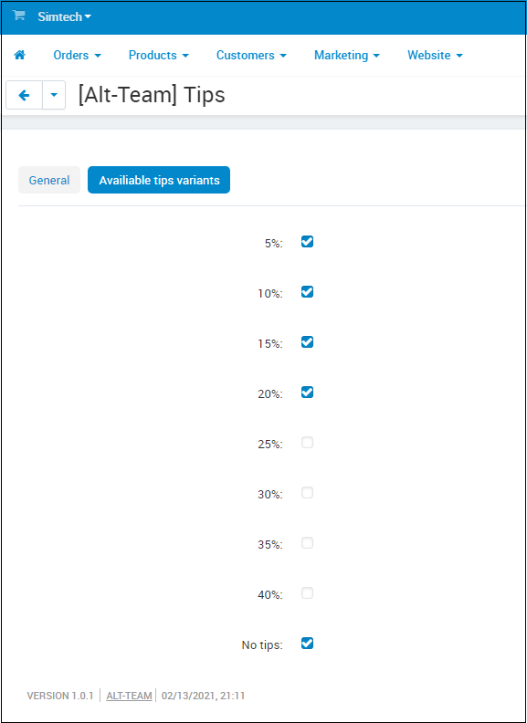 CS-Cart add-on The tips as a percentage of the order