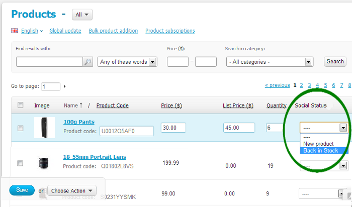 Social statuses on product details page