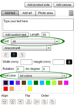 Choose font category and color palette