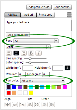 Choose a font categoty and color palette