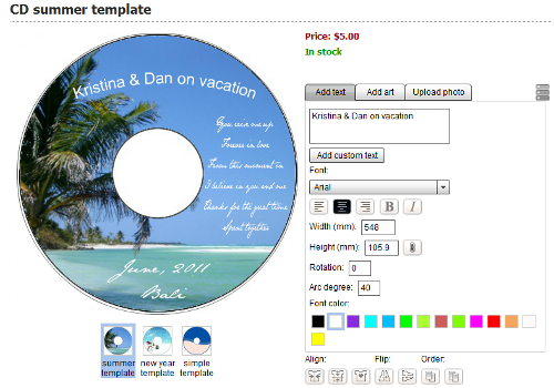 Personalized summer template