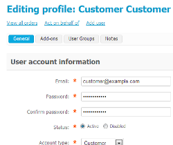Customer profile page