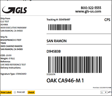 Example of GLS shipping labels for CS-Cart system