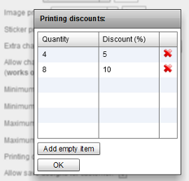 Set up printing discounts